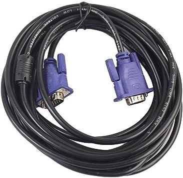 Lxquxing Accesorios de Computadora Cable VGA de 5 Metros Cable de Monitor Macho a Macho con núcleos de ferrita for resolución de 1080p for PC, computadoras, Notebook, Laptop, TV Equipo Electronico: Amazon.es: