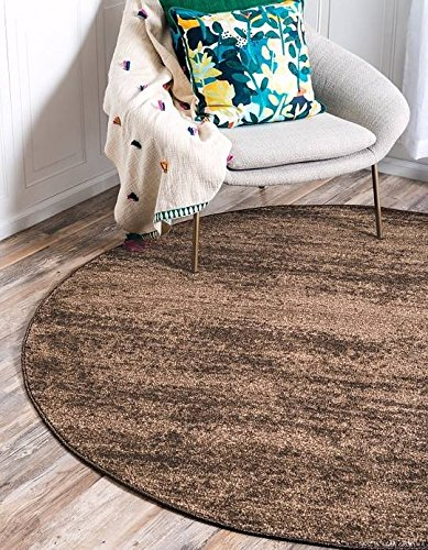 6' Polypropylene Area Rug (Unique Loom Del Mar Collection Brown 6 ft Round Area Rug (6' x 6'))