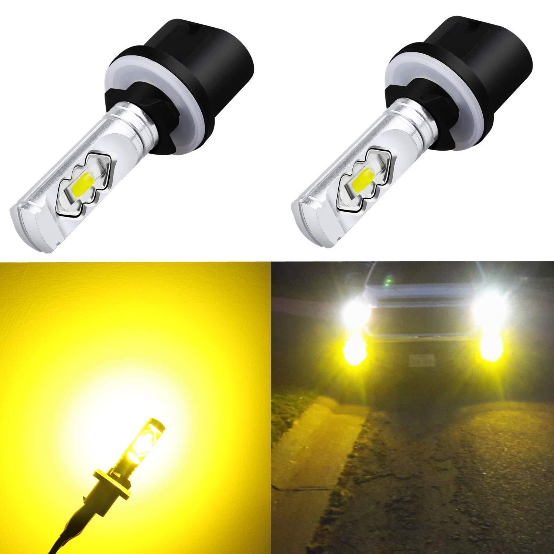 Alla Lighting 3800lm 899 880 LED Fog Light Bulbs Xtreme Super Bright 892 880 LED Bulb ETI 56-SMD LED 880 Bulb for Auto Motorcycle Cars Trucks SUVs Fog DRL Lights, 3000k Amber Yellow (Set of 2)
