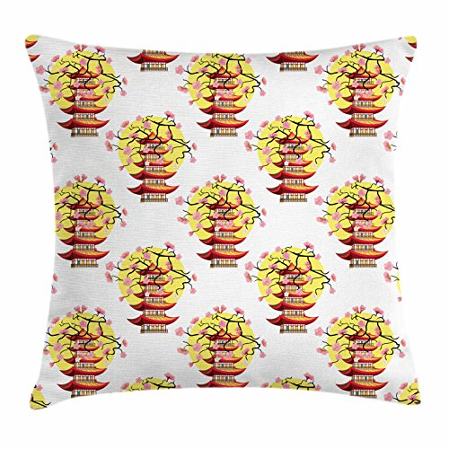 Ancient China Throw Pillow Cushion Cover by Ambesonne, Chinese Pagoda Illustration in Lively Colors with Sakura Cherry and Sunset, Decorative Square Accent Pillow Case, 36 X 36 Inches, (Sunset Cherry Top)