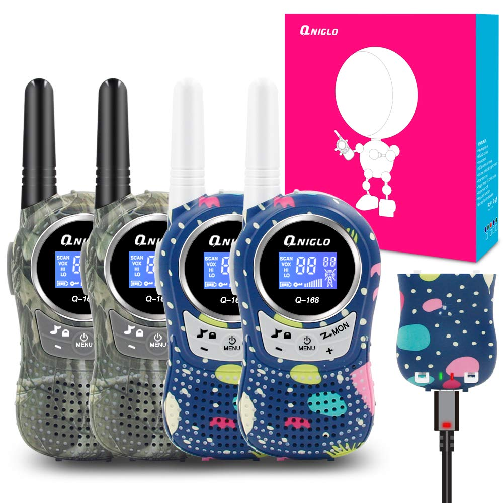 QNIGLO Rechargeable Walkie Talkies, 22 Channel FRS Two Way Radio Long Range Walkie Talkies for Kids Adults (Camo Blue+Camo Green, 4 Pack) by QNIGLO (Image #1)