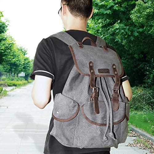 high-quality NEWHEY Canvas Leather Laptop Backpack Fits Up