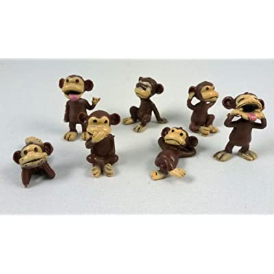 100 Monkey Figures Tiny Plastic Monkey Figures Bulk Bag 100 Party Favors by A&A