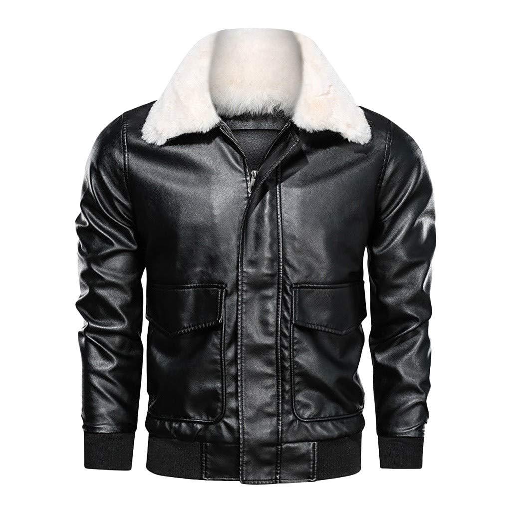 FEDULK Plus Size Mens Leather Jacket Autumn Winter Biker Motorcycle Zipper Long Sleeve Coat Tops Outwear(Black, Medium)