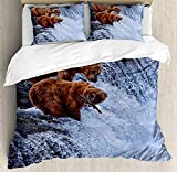Africa Twin Duvet Cover Sets 4 Piece Bedding Set Bedspread with 2 Pillow Sham, Flat Sheet for Adult/Kids/Teens, Grizzly Bears Fishing in the River Waterfalls Cascade in Alaska Nature Camp View