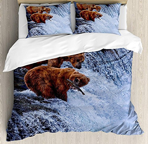 Mother Grizzly Bear - Africa Bedding Sets, Grizzly Bears Fishing in the River Waterfalls Cascade in Alaska Nature Camp View, 4 Piece Duvet Cover Set Quilt Bedspread for Childrens/Kids/Teens/Adults, Brown White,Queen Size