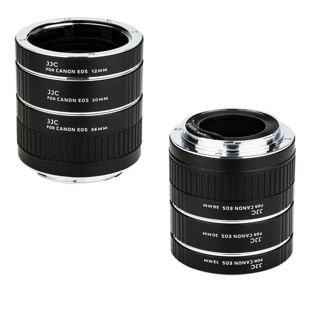 JJC EF & EF-S Mount Auto Focus Extension Tube Set for Canon EOS 80D 90D 70D 60D 77D Rebel T6 T7 T5 T7i T6i T6s T5i T4i SL3 SL2 EOS 6D Mark II 7D Mark II 5D Mark IV III II 5Ds R 1Dx Mark II and More by JJC