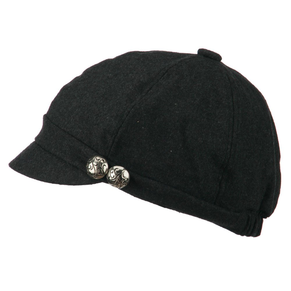 a5fc4635f9163d Jeanne Simmons 2 Silver Button Cabbie Cap - Dark Grey OSFM at Amazon Women's  Clothing store: