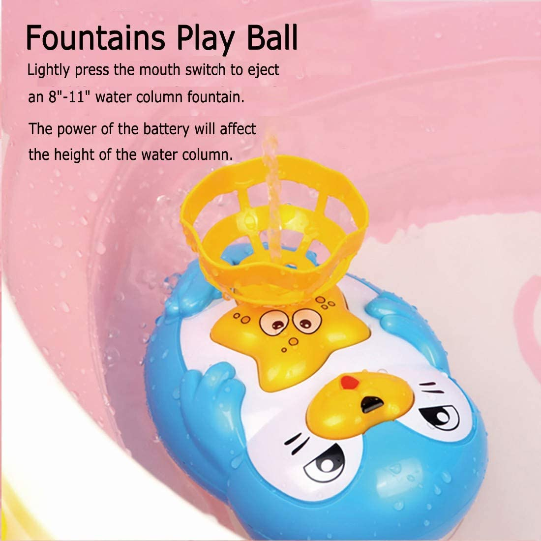 Seal Spray Water Toy with 2 Balls Blue Beystadium Bath Toys for Toddlers 3-6 Years Bath Sprinkler Toy for Kids Ideas