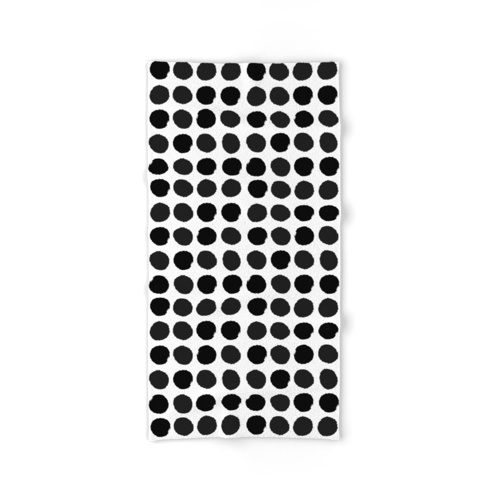 Society6 Black And White Minimal Paint Brush Painterly Dots Polka Dots Minimal Modern Dorm College Painting Bath Towel 64''x32''