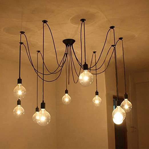 Fuloon Vintage Edison Multiple Ajustable DIY Ceiling Spider Lamp – Hanging Edison Bulb Chandelier