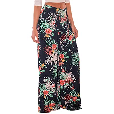 Sweatpants for Women with Pockets, Comfy Casual Pajama Pants Printed Drawstring Palazzo Lounge Pants Wide Leg at Women's Clothing store