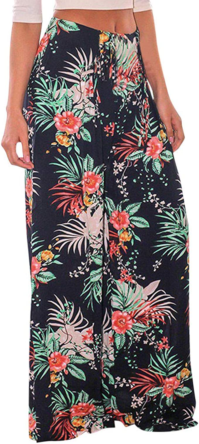 Anglewolf Womens Casual Floral Wide Leg Pajama Lounge Pants Womens Comfy Stretch Women High Waist Print Drawstring