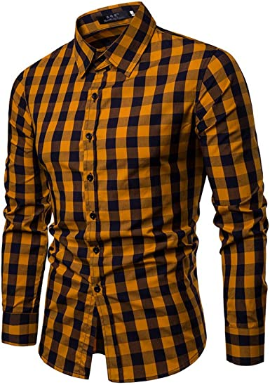 ARTFFEL Men Turn Down Collar Checkered Long Sleeve Business Casual Button Down Shirts Tops