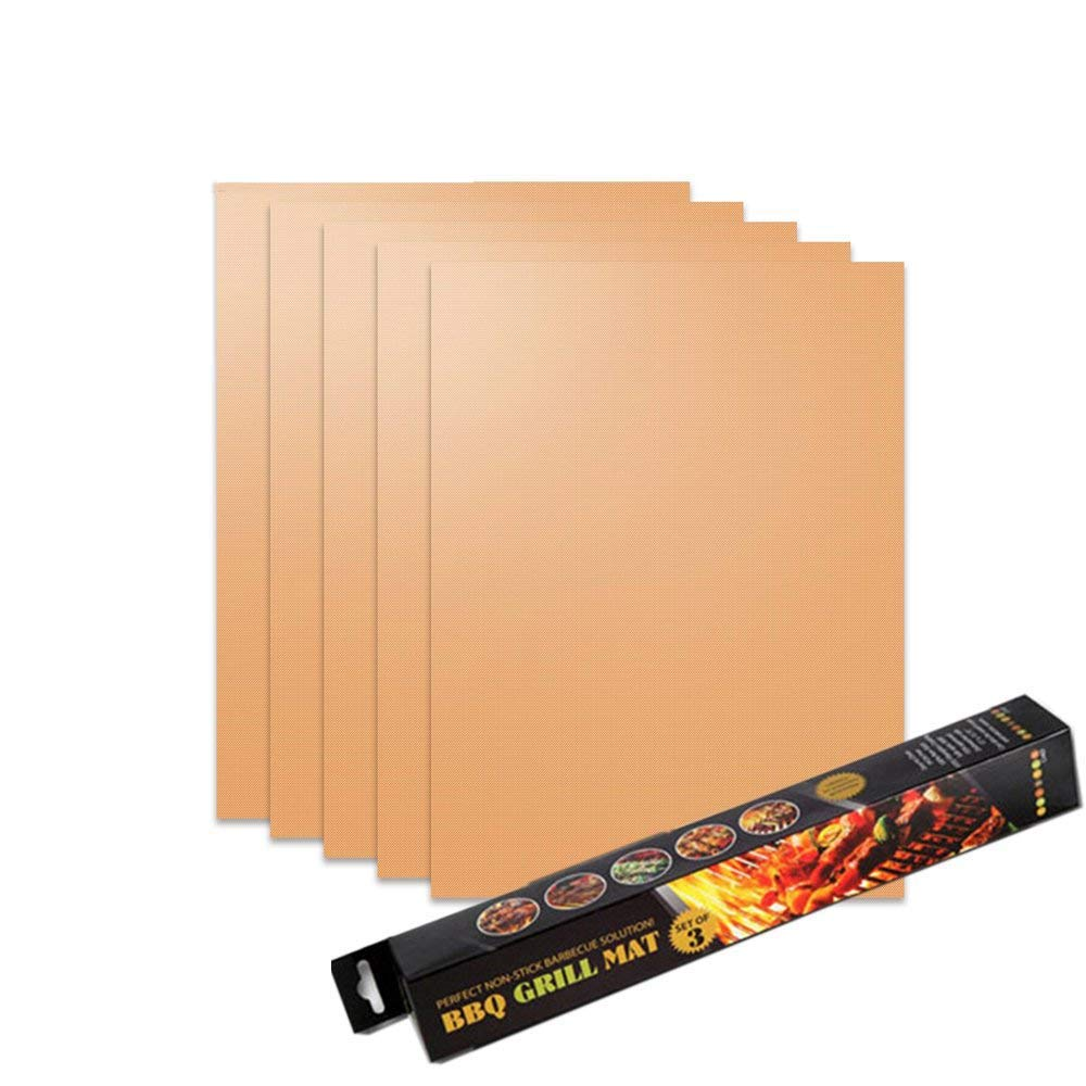 WISHPOOL Grill Mat Set of 5 - Non Stick Reusable Heavy Duty BBQ Grill&Baking Mats - Works on Gas, Charcoal, Electric Grills (Copper)