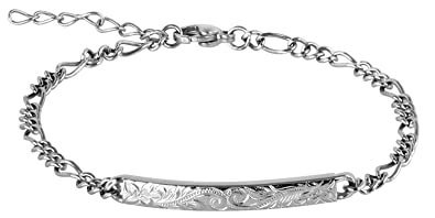 60923f5c32bcb Hawaiian Bracelet by Austaras Jewelry - Sterling Silver Plated Shiny  Stainless Steel Adjustable Chain and Hawaiian