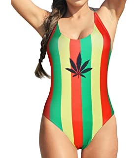 3ce22b522767e VOARYISA Women's Fashion One Piece Caribbean Jamaica Flag Rasta Sport  Monokini Swimsuit Swimwear