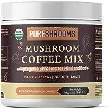 PureShrooms Mushroom Coffee with Lion's Mane, Reishi & Cordyceps, 70g. FOCUS, STRESS RELIEF, ENERGY & IMMUNITY - Keto Friendly (Adaptogenic Coffee, 35 Servings)