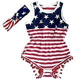 Carkoo USA Flag Pattern Baby Girl's Romper Beach