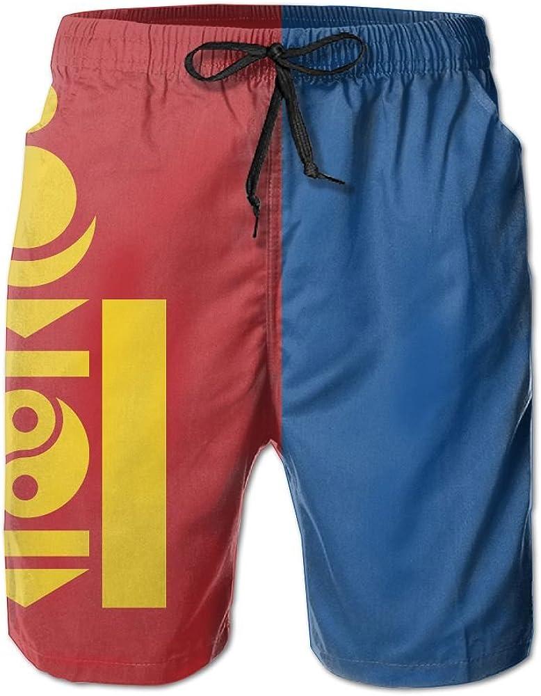 Men Classic Printed Elastic Swimming Trunks Short-American Flag Bright Sky Style Beach Shorts
