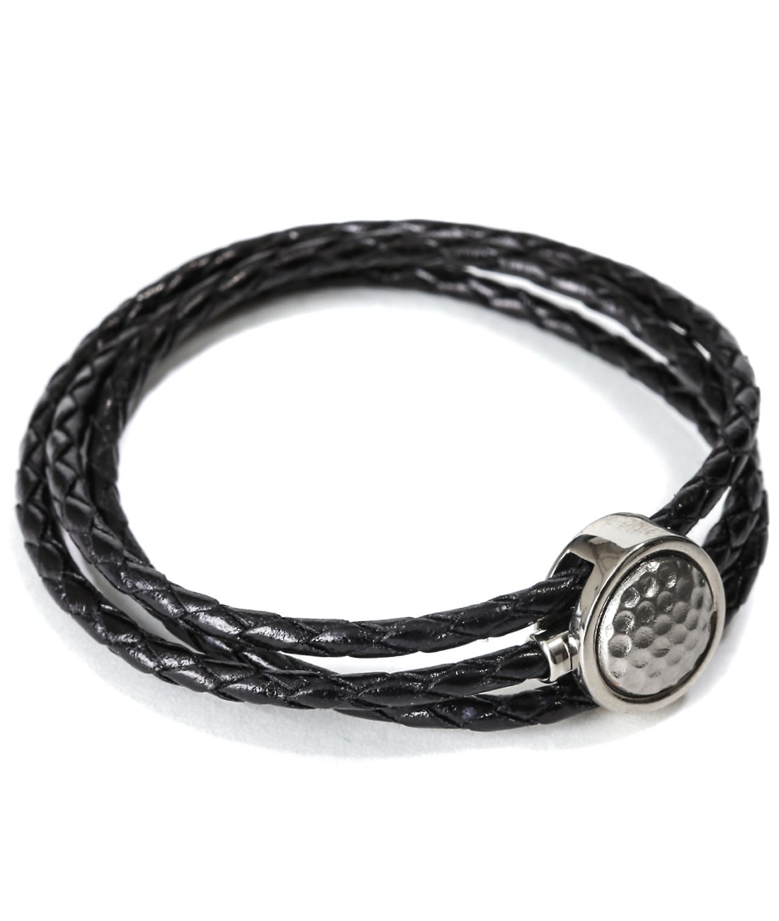 Mon Art Women's Braided Bracelet With Embossed Circle Metal Accent L Black