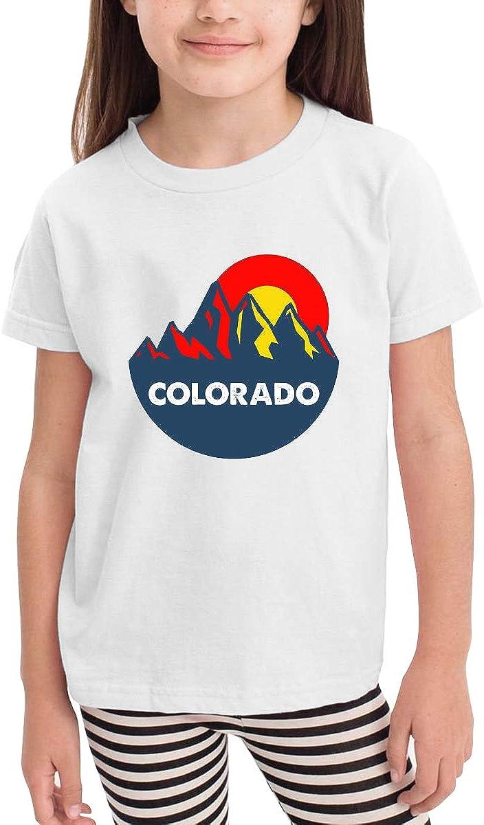 Colorado Mountain Sun Toddler Kids Short Sleeve Crew Neck Tee Shirts