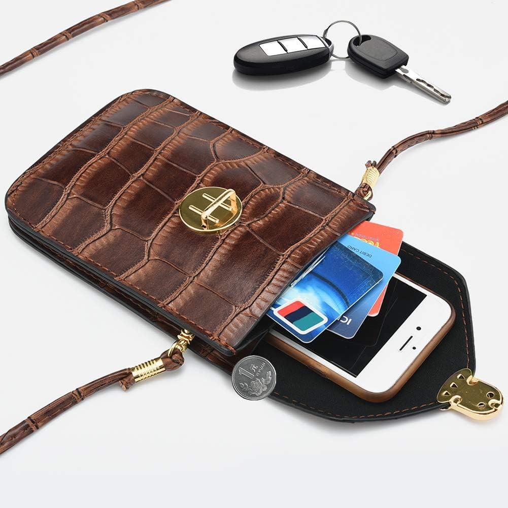 INSOUR Pochette Telephone Sac de Telephone Bandouliere en PU Cuir Sac Portefeuille Petit Sac Epaule pour T/él/éphone Portable Argent