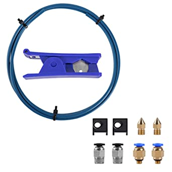Pneumatic Fittings and MK8 Socks and Extra Nozzles for Ender 3//3 Pro//5 CR-10 Series//10S//20//20 Pro Creality Upgrade 3D Printer Kit with Capricorn Premium XS Bowden Tubing 1M, PTFE Teflon Tube Cutter