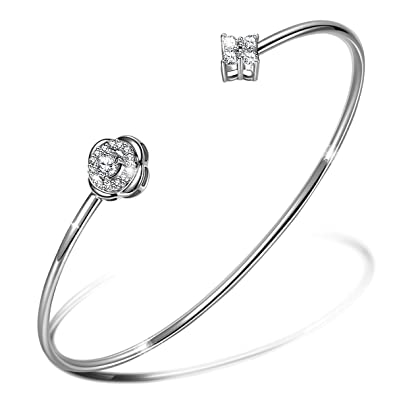 c9ae786555d65 LADY COLOUR ♥Lucky Dating 925 Sterling Silver Cuff Bracelet  Four-Leaf-Clover with Swarovski Crystal Best Choice for Mother's Day !