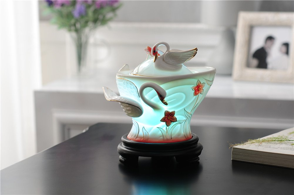 Deerbird Elegant Swan Ceramics 7 Color Changeable 180ml Ultrasonic Cool Mist Air Humidifier With Waterless Auto Shut-off Home Bedroom Aroma Essential Oils Diffuser (Red) by DeerBird