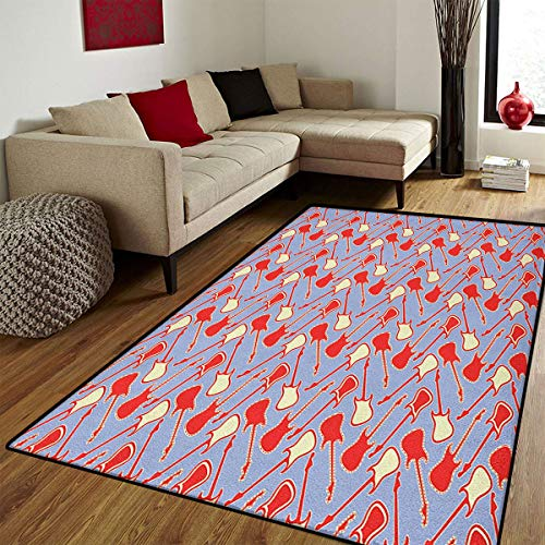 Guitar,Bath Mats Carpet,Abstract Bicolor Music Equipment Illustration Rock n Roll Theme Modern,Door Mat Increase,Lavender Vermilion Cream,6.6x10 ft