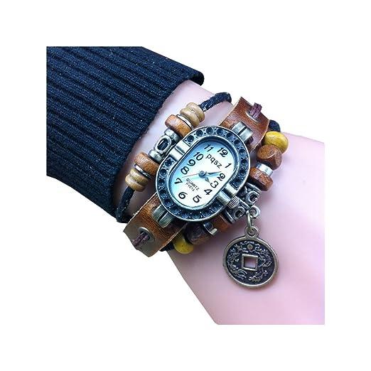 Relojes Niñas Relojes Vintage Chino Monedas Pulsera Reloj Cuero Pulseras Tejidas Regalo Pulsera de Vacuno: Amazon.es: Relojes