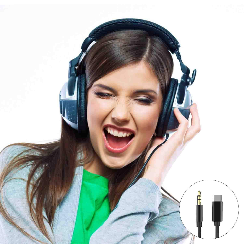 Type C to 3.5mm Audio Aux Cable Jevtech USB C to 3.5mm Male Headphone Audio Car Aux Cable Output 32 Bit//384 KHz Compatible with Google Pixel 3//3 XL//2// 2XL,Razer Phone//Black