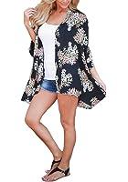 PRETTODAY Women Floral Kimono Loose Half Sleeve Shawl Chiffon Casual Coat