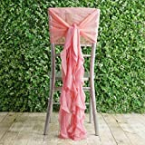 Efavormart 1 Set Rose Quartz Premium Designer Curly Willow Chiffon Chair Sashes for Home Wedding Birthday Party Dance Banquet