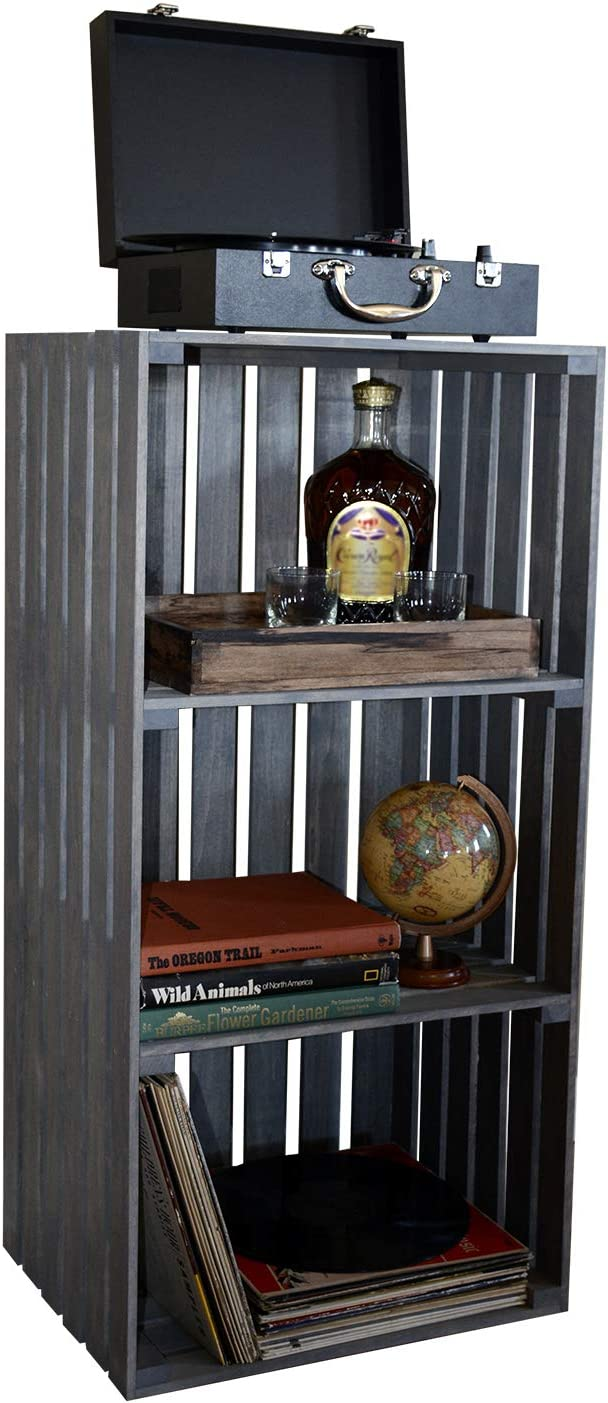 Darla'Studio 66 Antique Gray Stained 3 Tier Turntable Stand