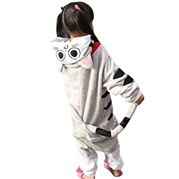 Amurleopard Dibujo Animado Pijamas Siameses Niños Traje Espesar Halloween y Navidad, Gato Gris, x