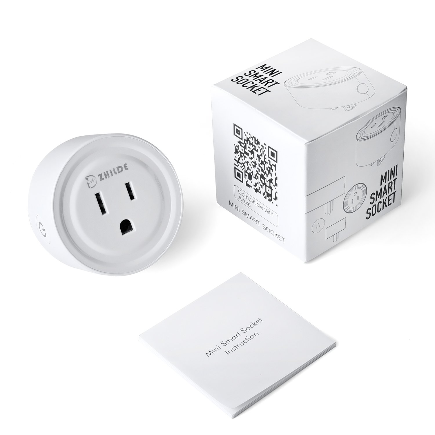 Mini Smart Plug,ZHILDE Wi-Fi Socket Outlet, Energy Monitoring with Timing Function, Compatible with Amazon Alexa Echo and Google Assistant, No Hub Required(ETL Listed) (1 Pack)