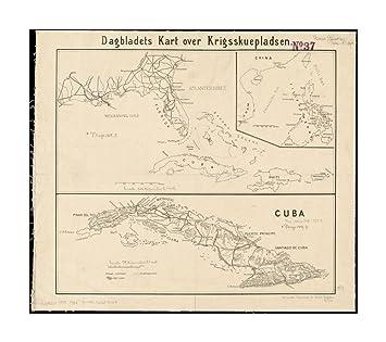 kart over cuba Amazon.com: 1898 Map Cuba| Philippines| Caribbean Sea Dagbladets  kart over cuba