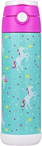 Snug Flask for Kids (500ml) - Vacuum Insulated Water Bottle with Straw (Unicorn)