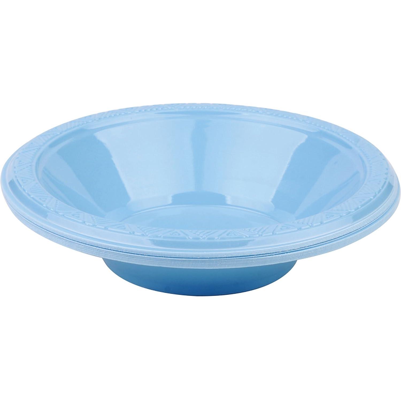12 x 16oz Light Blue Plastic Disposable Serving Soup Party Bowl Britwear