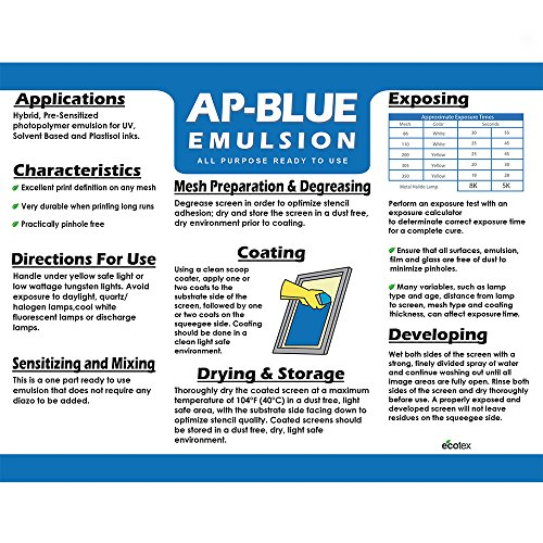 Ecotex AP-Blue - All Purpose Ready to Use Screen Printing Emulsion (1 Pint)