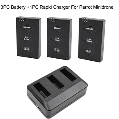 Rucan 3 Battery/Set for Parrot MiniDrone Jumping Sumo Swing Mambo Rolling Spider: Toys & Games