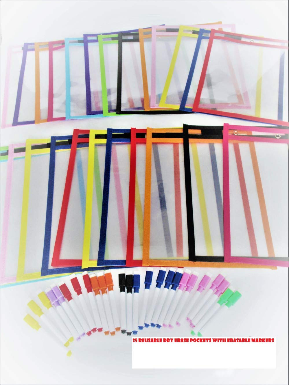Reusable Dry-Erase pockets 25 pack with 25 Erasable Markers (25) by ZM777 (Image #4)