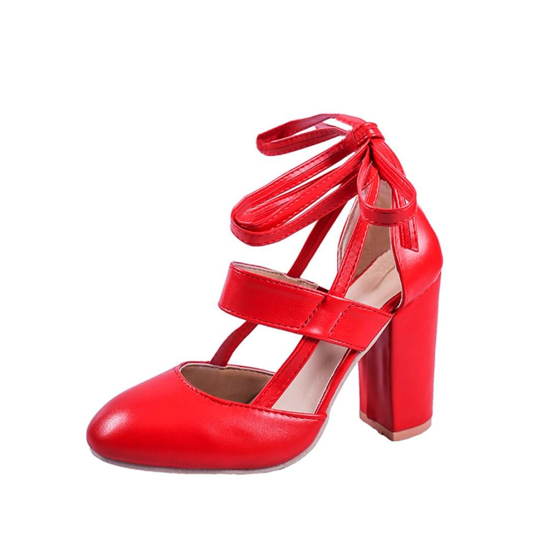 LtrottedJ Women's Fashion Heeled Sandals Ankle Strap Dress Sandals for Party Wedding (42, Red)