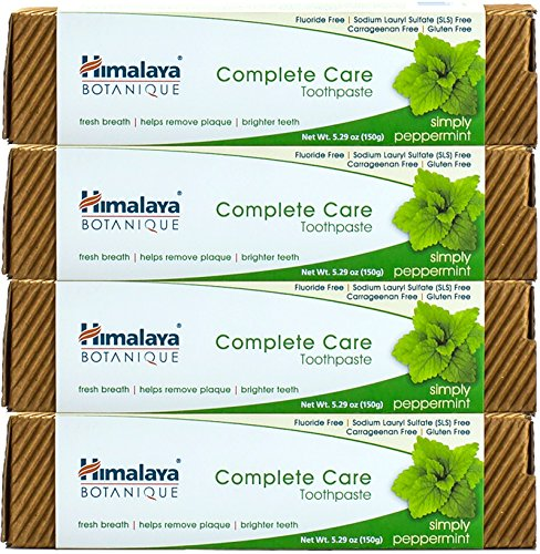 Himalaya Complete Care Toothpaste – Simply Peppermint 5.29 oz/150 gm (4 Pack) Natural, Flouride-Free & SLS Free