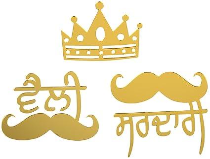Punjabi Cart PC-CSTK-S3-G Universal Golden Sticker for Cars