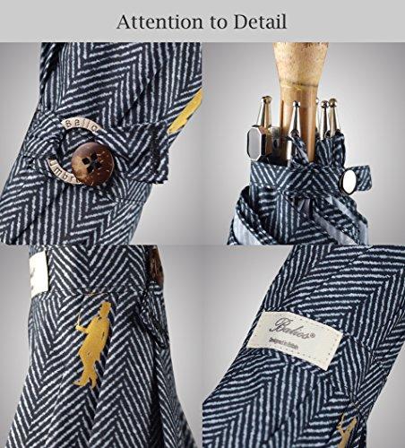 Balios Prestige Walking Umbrella, Real Wood Handle & Bamboo Shaft, Auto Open, Windproof Designed in UK (Herringbone Black & White)