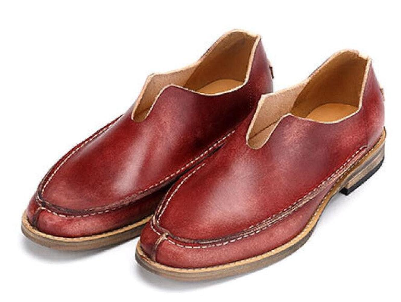 GTYMFH Männer Freizeitschuhe Frühling Einzelne Schuhe Atmungsaktiv Vintage Lederschuhe