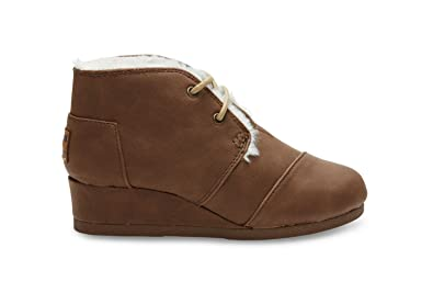 8e416db3f02 Image Unavailable. Image not available for. Color  TOMS Kids Unisex Desert  Wedge Bootie (Little Kid Big Kid) Brown Synthetic Leather